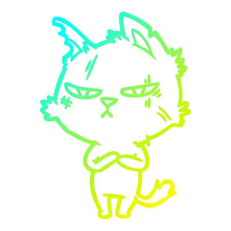 cold gradient line drawing of a tough cartoon cat