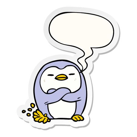 cartoon penguin tapping foot with speech bubble sticker