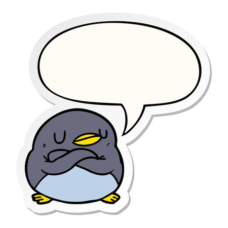 cartoon penguin with crossed arms with speech bubble sticker