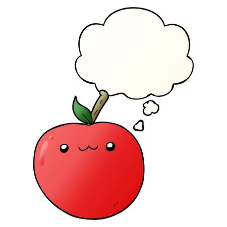 cartoon cute apple with thought bubble in smooth gradient style