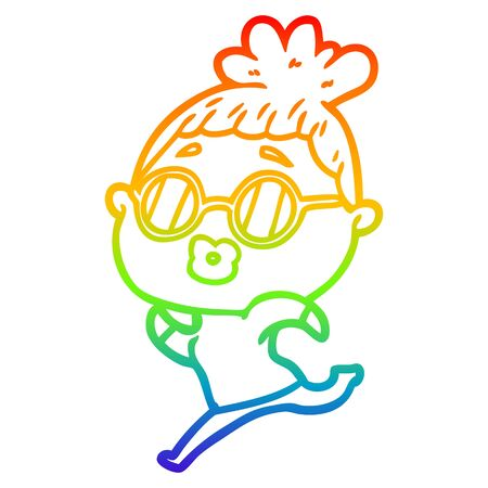 rainbow gradient line drawing of a cartoon woman running wearing sunglasses Banque d'images - 130433222