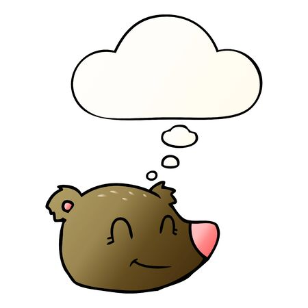 cartoon happy bear face with thought bubble in smooth gradient style