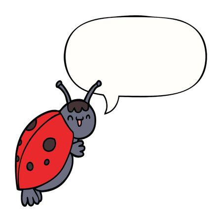 cute cartoon ladybug with speech bubble