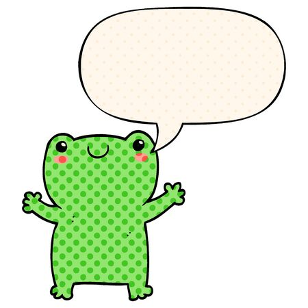 cute cartoon frog with speech bubble in comic book style  イラスト・ベクター素材