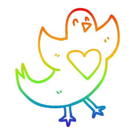 rainbow gradient line drawing of a cartoon bird with love heart