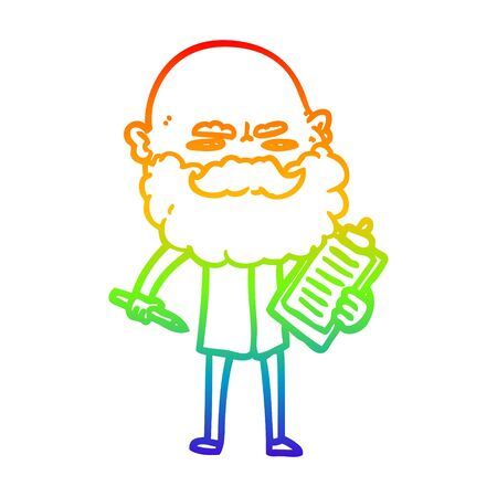 rainbow gradient line drawing of a cartoon man with beard frowning