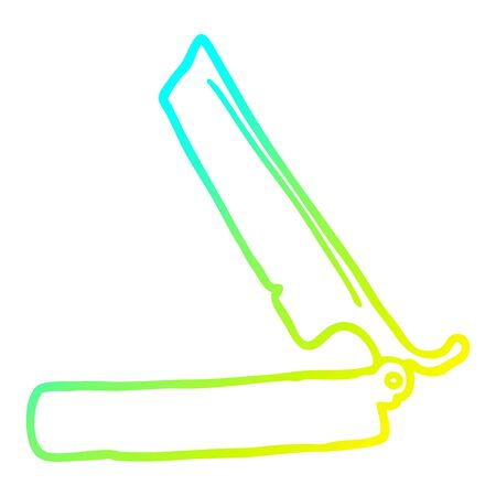 cold gradient line drawing of a cartoon traditional razor
