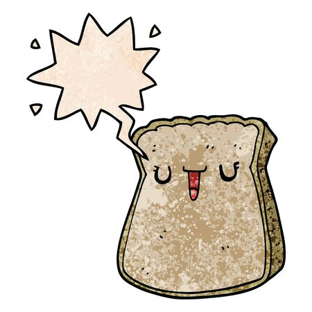 cartoon slice of bread with speech bubble in retro texture style Çizim
