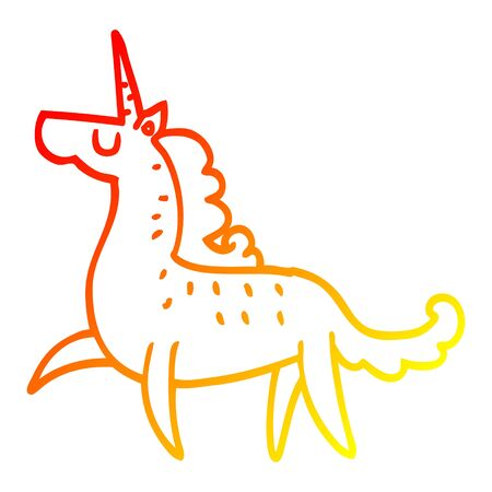 warm gradient line drawing of a cartoon magical unicorn