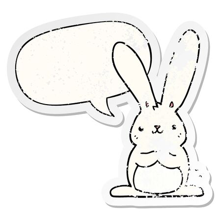 cartoon rabbit with speech bubble distressed distressed old sticker