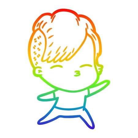rainbow gradient line drawing of a cartoon squinting girl Vettoriali