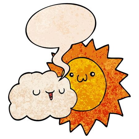 cartoon sun and cloud with speech bubble in retro texture style Banque d'images - 130413107
