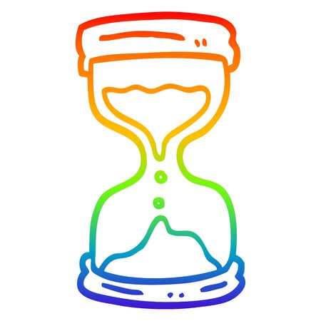 rainbow gradient line drawing of a cartoon hourglass Ilustração