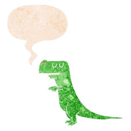 cartoon dinosaur with speech bubble in grunge distressed retro textured style