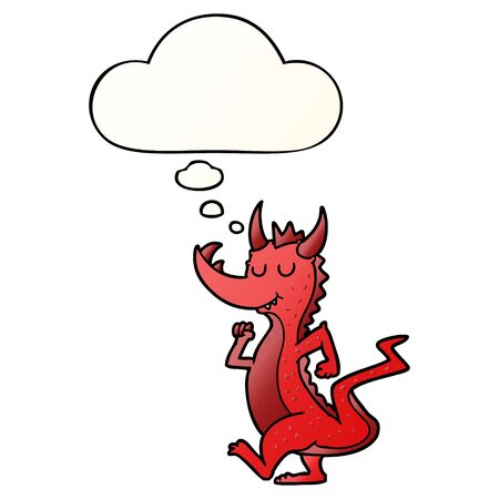 cartoon cute dragon with thought bubble in smooth gradient style Иллюстрация