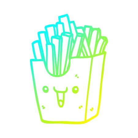 cold gradient line drawing of a cute cartoon box of fries