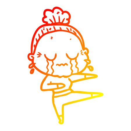 warm gradient line drawing of a cartoon old dancer woman crying