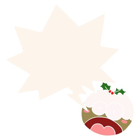 cartoon christmas pudding with shocked face with speech bubble in retro style Illustration
