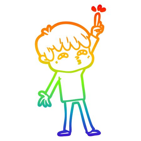 rainbow gradient line drawing of a cartoon boy asking question