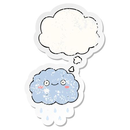 cute cartoon cloud with thought bubble as a distressed worn sticker Ilustração