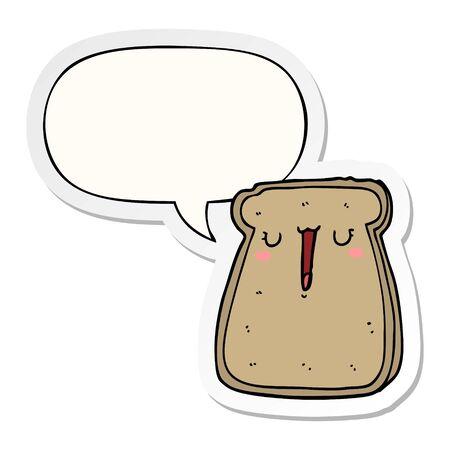 cartoon toast with speech bubble sticker