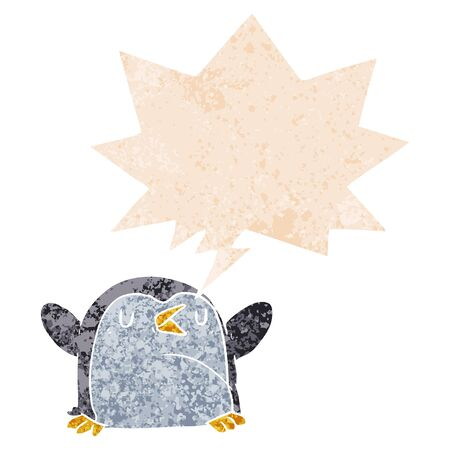 cartoon penguin with speech bubble in grunge distressed retro textured style Illustration