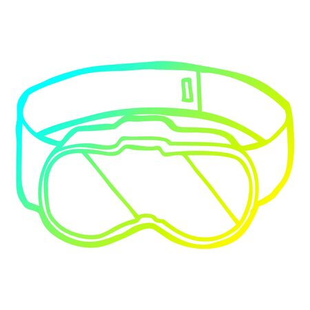 cold gradient line drawing of a cartoon goggles Illustration