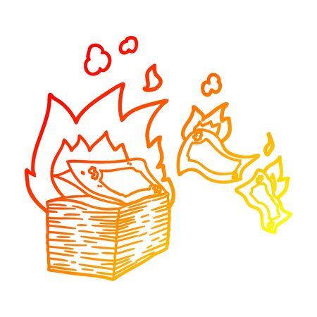 warm gradient line drawing of a burning money cartoon