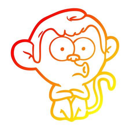 warm gradient line drawing of a cartoon hooting monkey