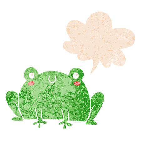 cartoon frog with speech bubble in grunge distressed retro textured style