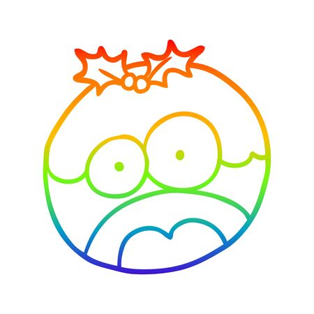 rainbow gradient line drawing of a christmas pudding with shocked face