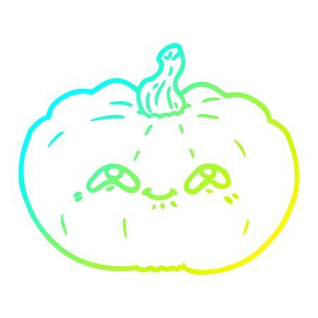 cold gradient line drawing of a happy cartoon pumpkin