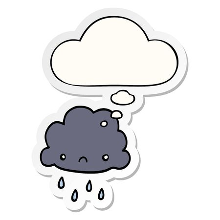cartoon storm cloud with thought bubble as a printed sticker