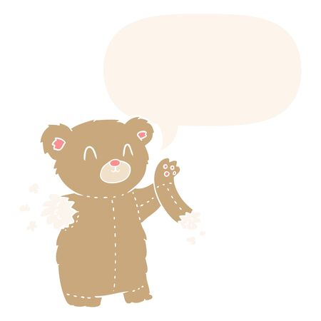 cartoon teddy bear with torn arm with speech bubble in retro style