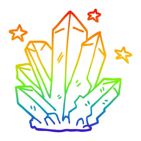 rainbow gradient line drawing of a cartoon magic crystal