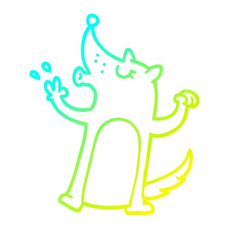 cold gradient line drawing of a cartoon howling wolf Illustration