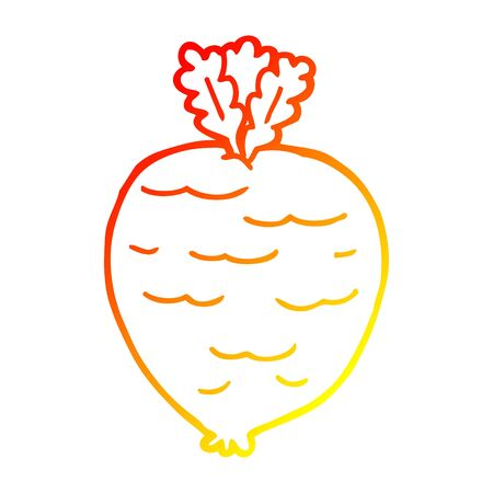 warm gradient line drawing of a cartoon root vegetable