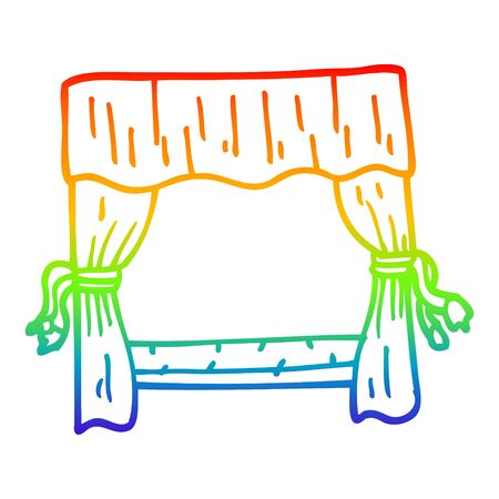rainbow gradient line drawing of a cartoon stage curtains Ilustração