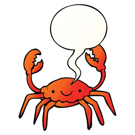 cartoon crab with speech bubble in smooth gradient style  イラスト・ベクター素材