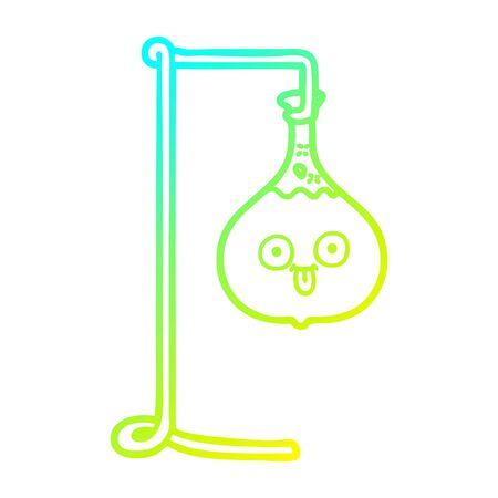 cold gradient line drawing of a cartoon science experiment