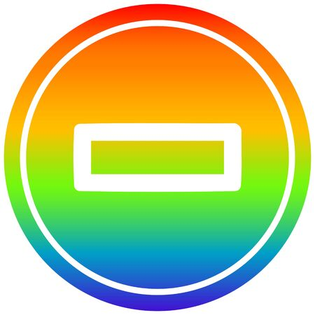 subtraction with rainbow gradient finish circular icon with rainbow gradient finish 向量圖像
