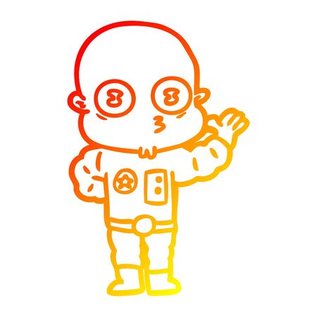 warm gradient line drawing of a waving weird bald spaceman