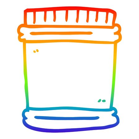 rainbow gradient line drawing of a cartoon vitamin pots Ilustração