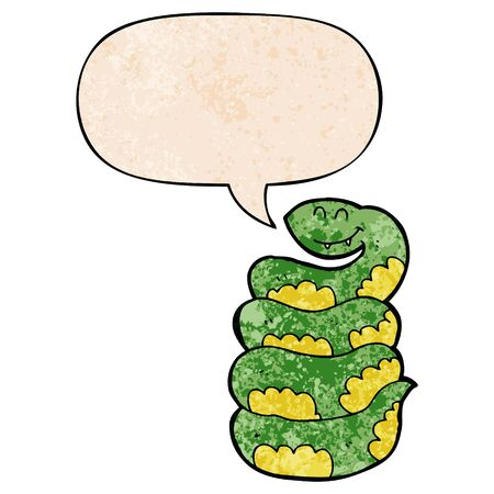cartoon snake with speech bubble in retro texture style