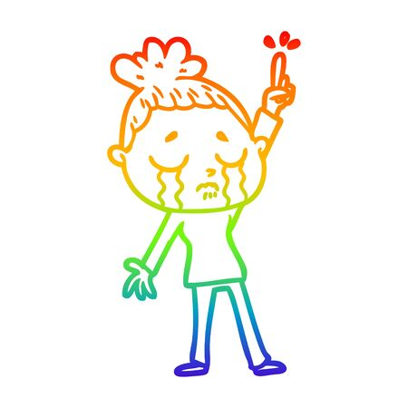 rainbow gradient line drawing of a cartoon crying woman raising hand
