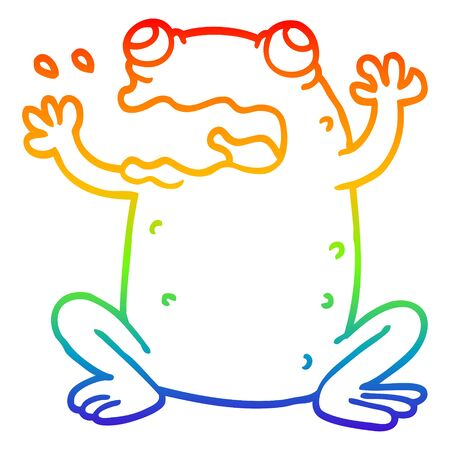 rainbow gradient line drawing of a cartoon burping toad  イラスト・ベクター素材