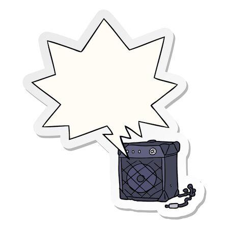 Cartoon-E-Gitarrenverstärker mit Sprechblasenaufkleber