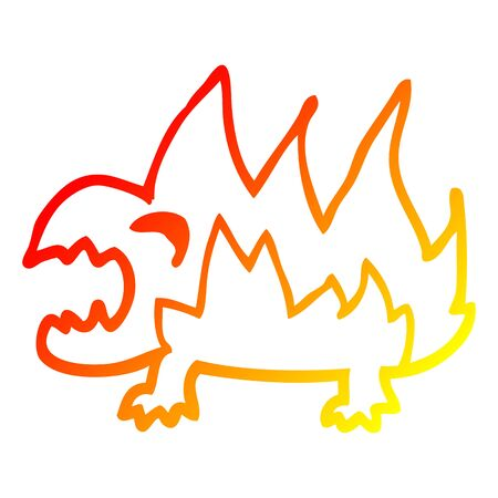 warm gradient line drawing of a cartoon fire demon 向量圖像