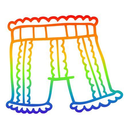 rainbow gradient line drawing of a cartoon underwear Archivio Fotografico - 130436214