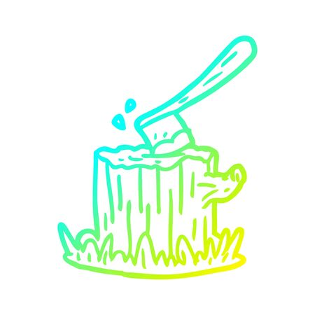 cold gradient line drawing of a axe stuck in tree stump